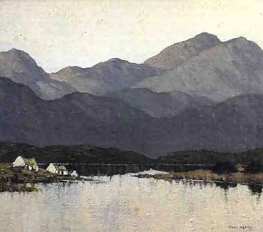 Cottages by a Lough by Paul Henry