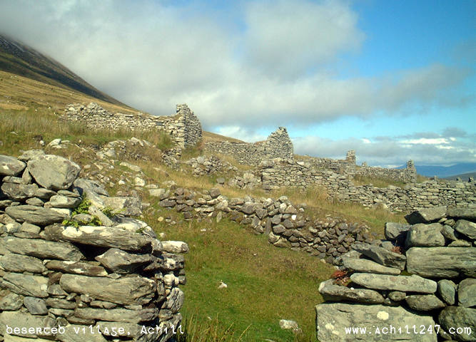 cottages at deserted village, Slievemore, Achill Island