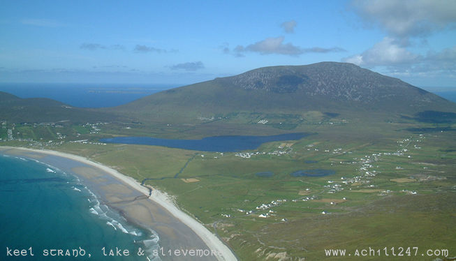 Keel strand, Keel lake and Slievemore, Achill Island, Ireland